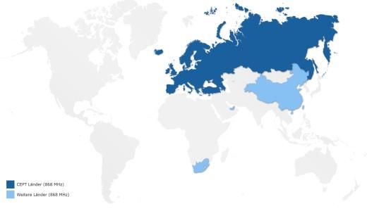 Weltkarte: Z-Wave auf 868 MHz