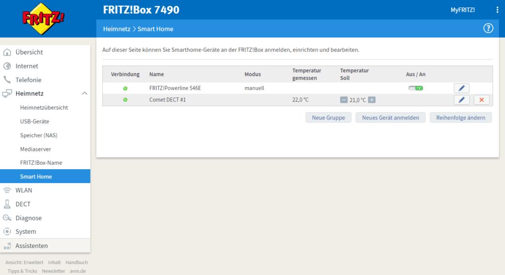 FRITZ!Box 7490 - Smart Home Übersicht