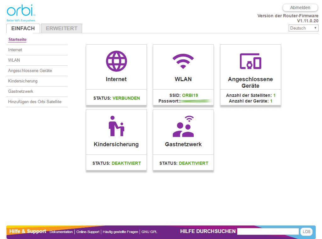 Netgear Orbi - Konfiguration per Web (einfache Ansicht)