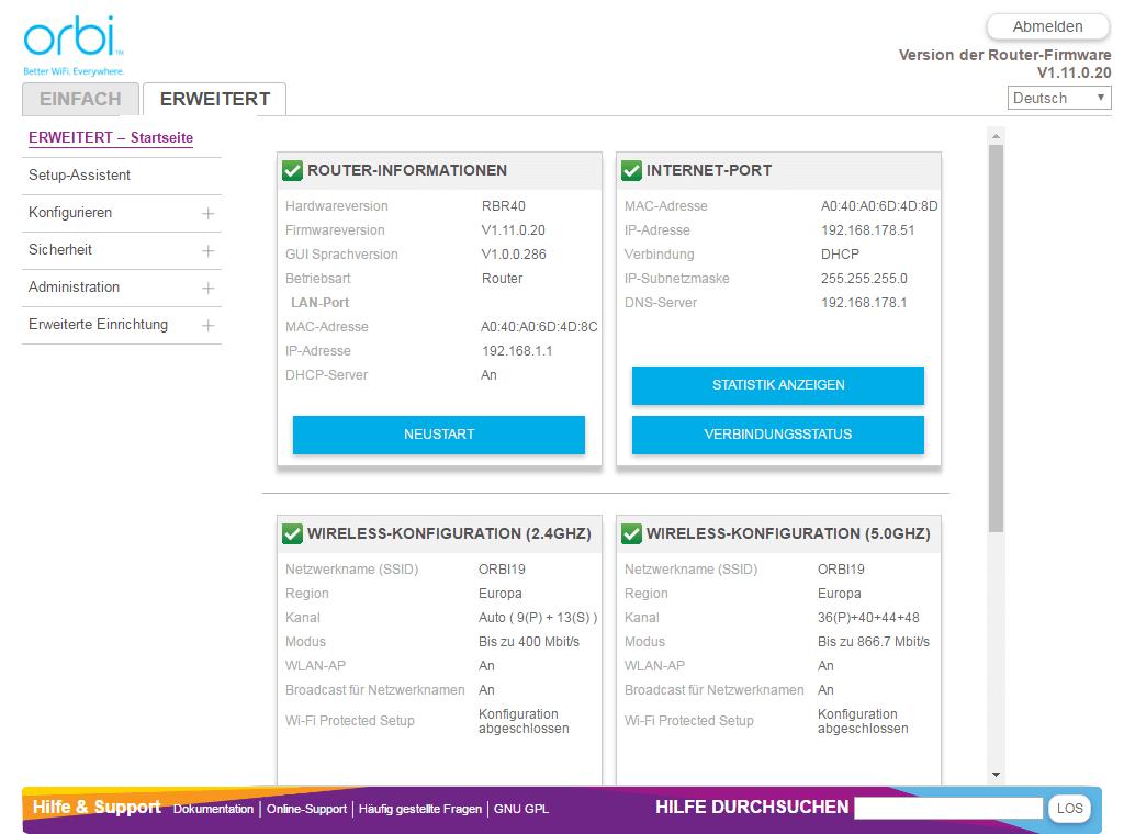 Netgear Orbi - Konfiguration per Web (erweiterte Ansicht)