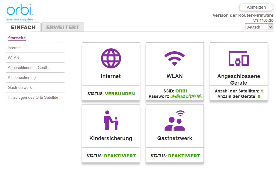Netgear Orbi - Router-Einstellungen