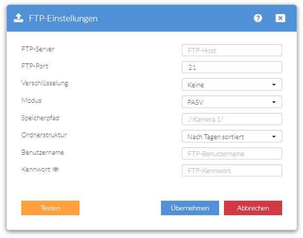IN-9020 - FTP-Server-Einstellungen