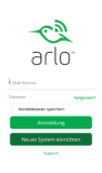 Arlo App - Anmeldung